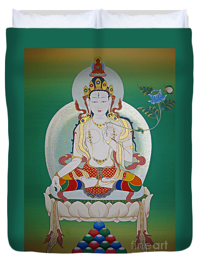 Thangka Duvet Cover featuring the painting White Tara by Sergey Noskov