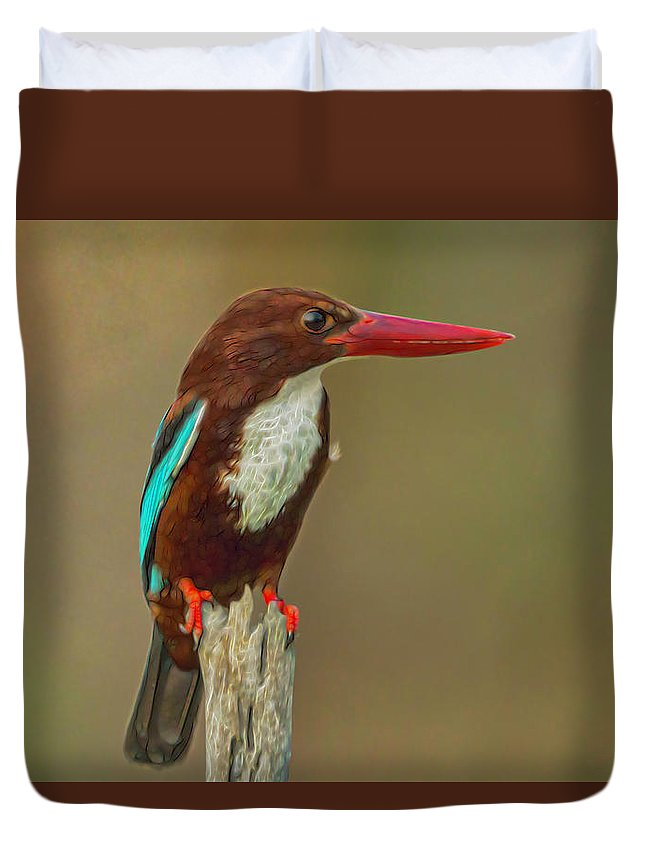 Halcyon Smyrnensis Duvet Cover featuring the digital art White-throated Kingfisher by Ron Racine