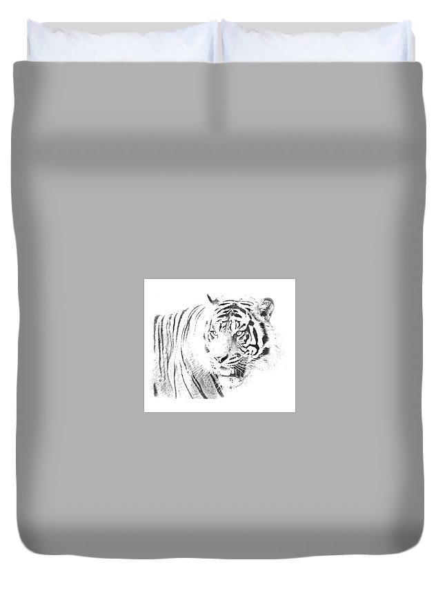Tiger Duvet Cover featuring the digital art White Tiger by Cindy Kim
