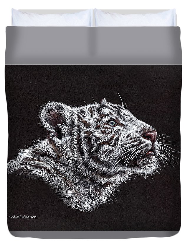 Tiger Duvet Cover featuring the painting White Tiger Cub by Sarah Stribbling