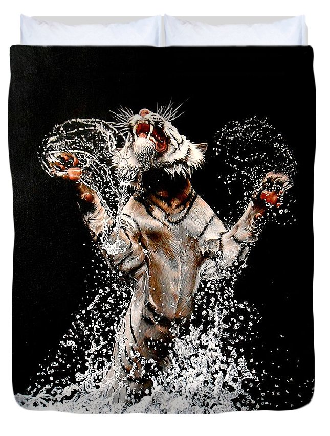 Tiger Duvet Cover featuring the painting White Tiger Jumping In Water by Susana Falconi