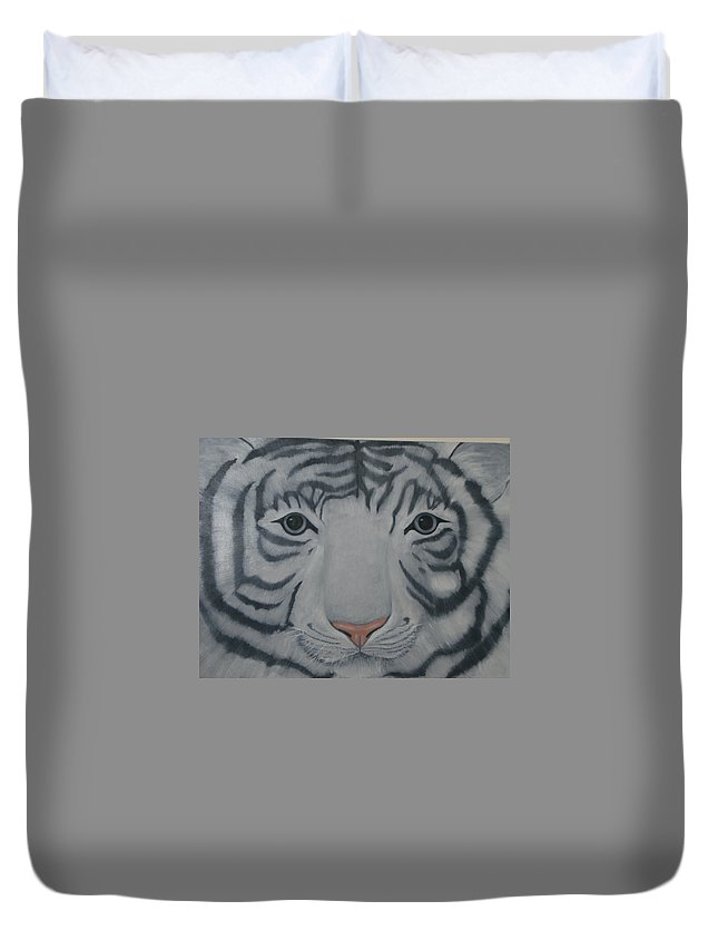 White Tiger Duvet Cover featuring the painting White Tiger by Toni Berry
