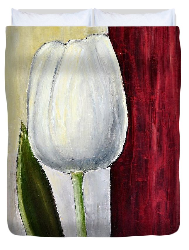 Painting Duvet Cover featuring the painting White Tulip by Dimitra Papageorgiou