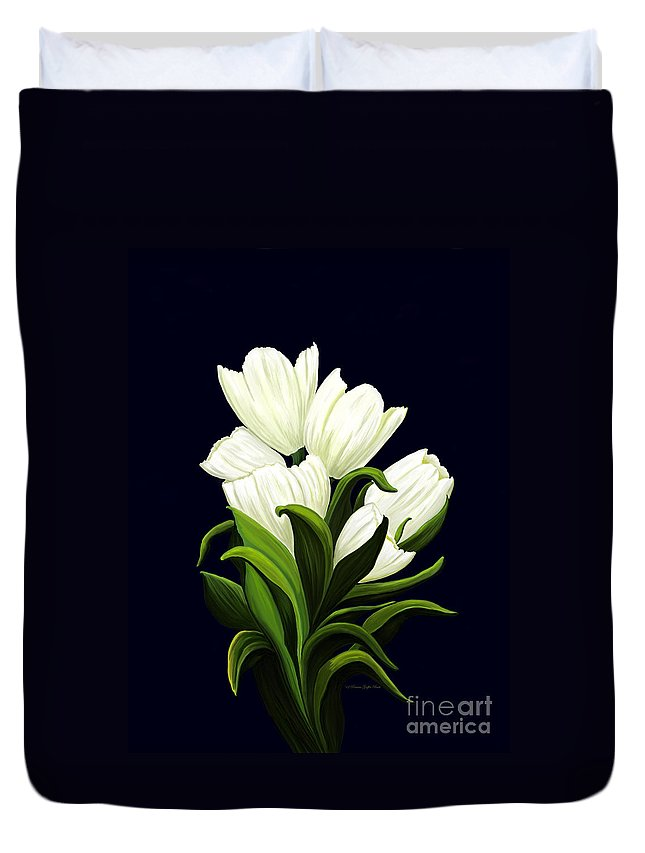 Mixed Media Duvet Cover featuring the painting White Tulips by Patricia Griffin Brett