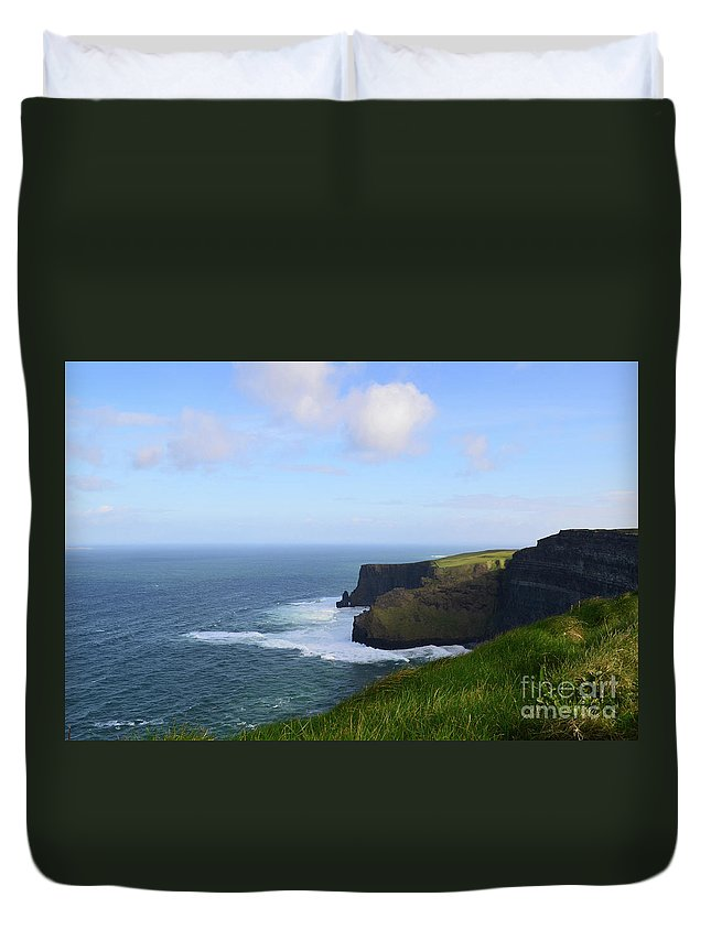 Grass Duvet Cover featuring the photograph White Water At The Base Of The Cliff's Of Moher by DejaVu Designs