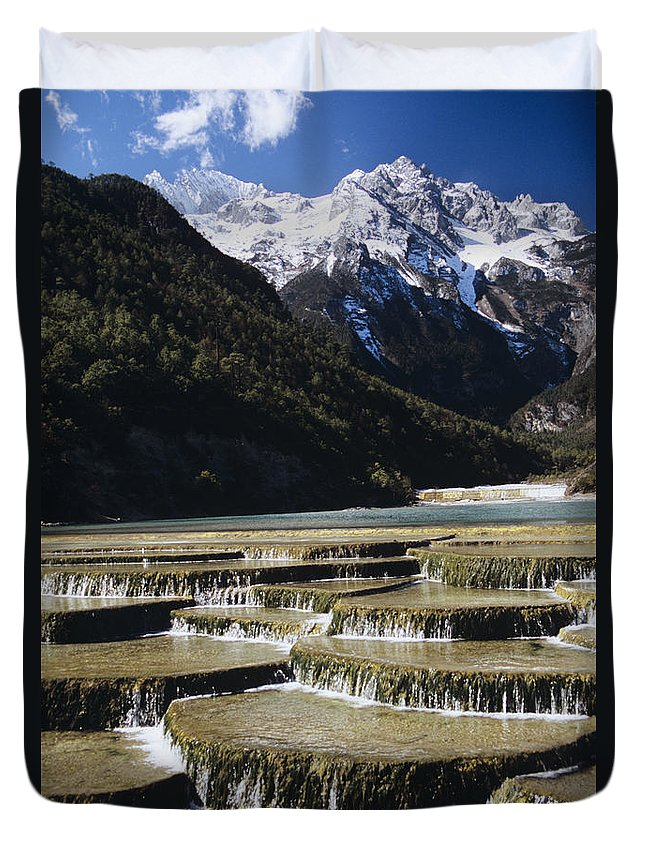 Asian Art Duvet Cover featuring the photograph White Water River - Lijiang by Gloria & Richard Maschmeyer - Printscapes
