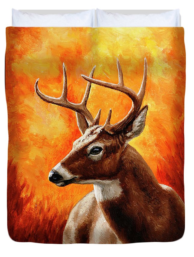 Deer Duvet Cover featuring the painting Whitetail Buck Portrait by Crista Forest