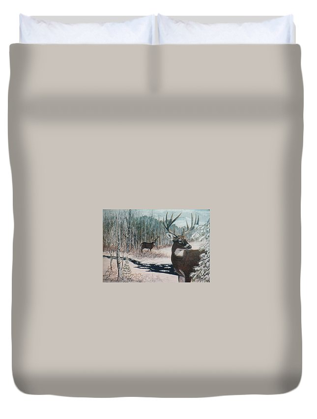 Deer; Snow; Creek Duvet Cover featuring the painting Whitetail Deer by Ben Kiger
