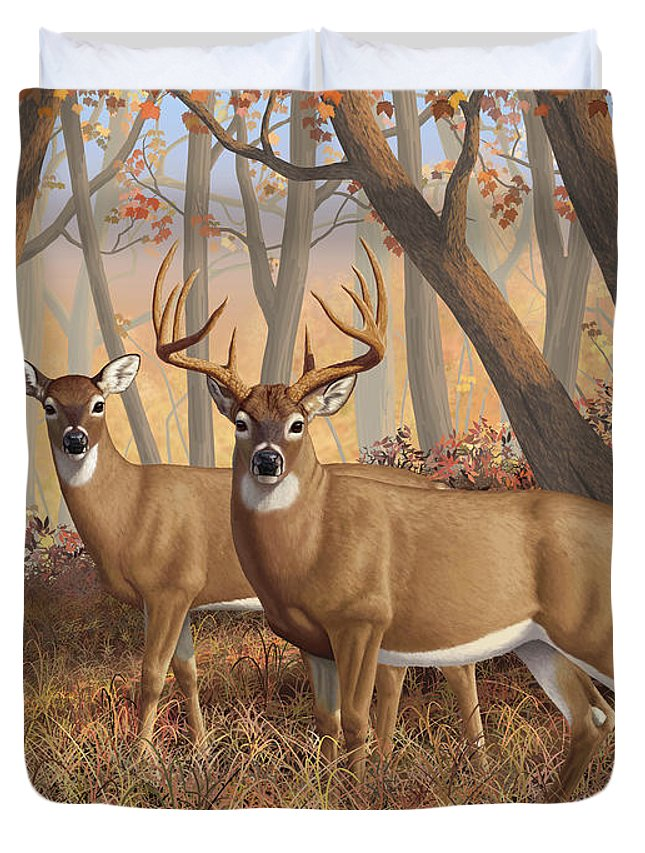 Deers Duvet Cover featuring the digital art Whitetail Deer Painting - Fall Flame by Crista Forest