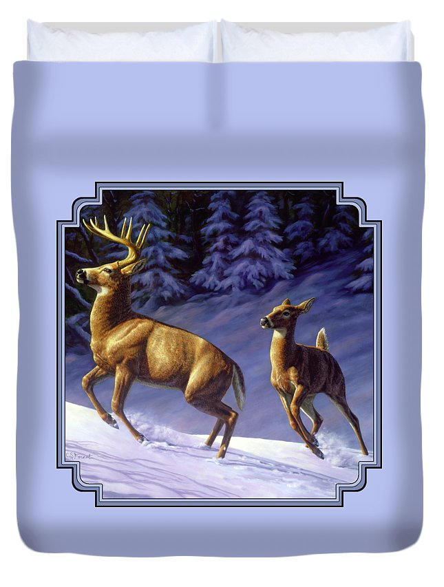 Deer Duvet Cover featuring the painting Whitetail Deer Painting - Startled by Crista Forest