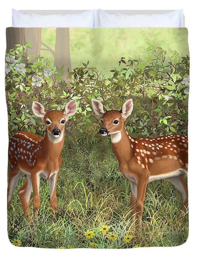 Whitetail Deer Duvet Cover featuring the painting Whitetail Deer Twin Fawns by Crista Forest