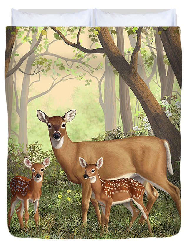 Whitetail Deer Duvet Cover featuring the painting Whitetail Doe And Fawns - Mom's Little Spring Blossoms by Crista Forest