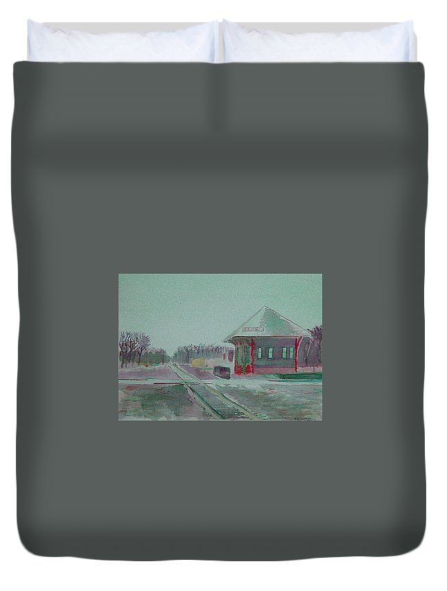 Whitewater Duvet Cover featuring the painting Whitewater Rail Station by Paul Thompson
