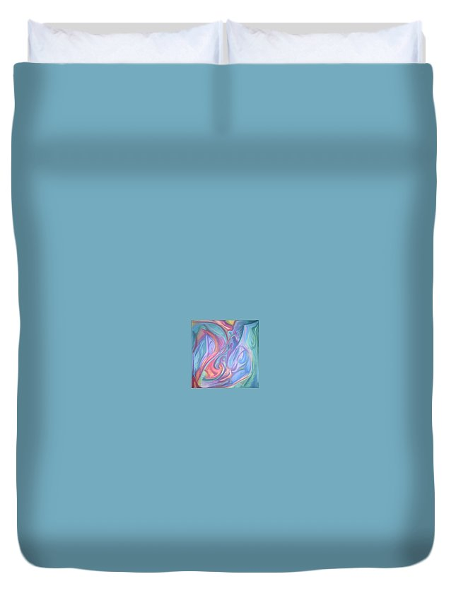 Duvet Cover featuring the pastel Whitout Titel by Sitara Bruns