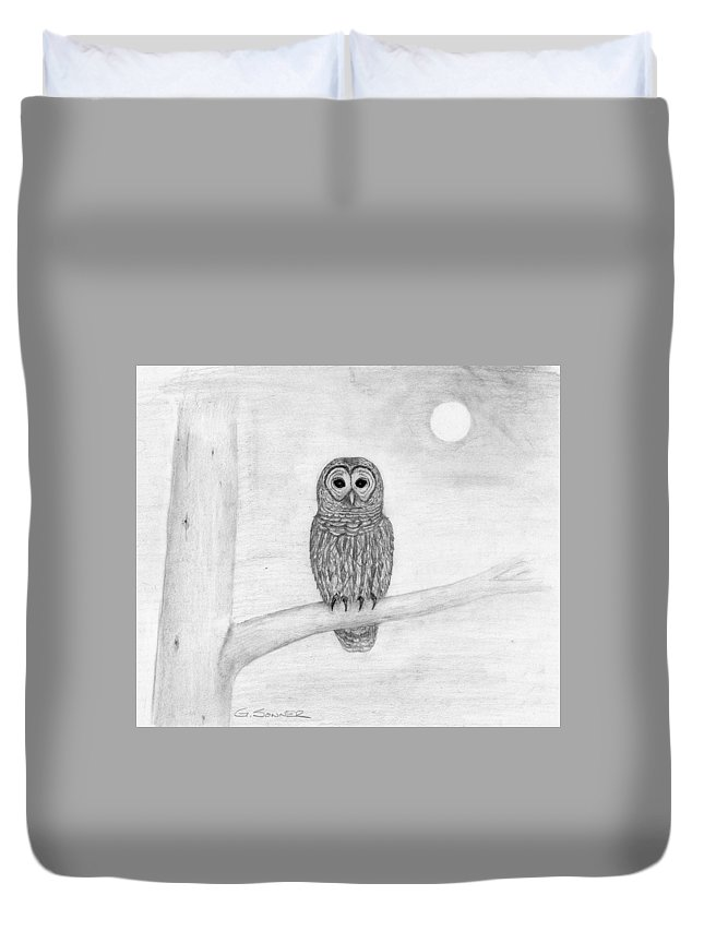 Owl Duvet Cover featuring the drawing Who by George Sonner
