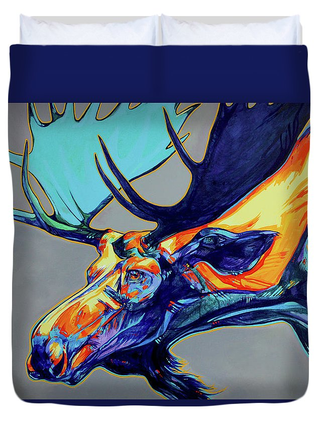 Moose Duvet Cover featuring the painting Who Has Seen The Wind by Derrick Higgins