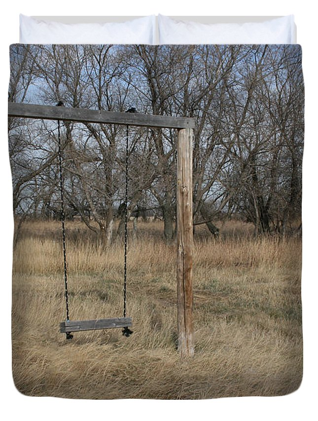 Swing Old Farm Grass Abandoned Trees Playgorund Lost Empty Lonely Duvet Cover featuring the photograph Who Played Here by Andrea Lawrence