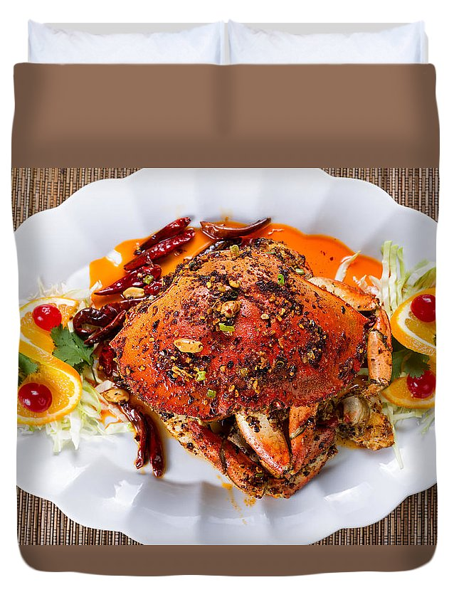 Dungeness Duvet Cover featuring the photograph Whole Cooked Dungeness Crab With Peanut Sauce And Spices On Whit by Thomas Baker