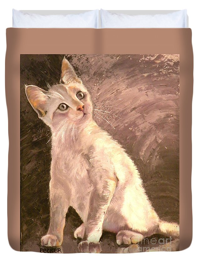Cat Duvet Cover featuring the painting Whole Lotta Lovin by Susan A Becker