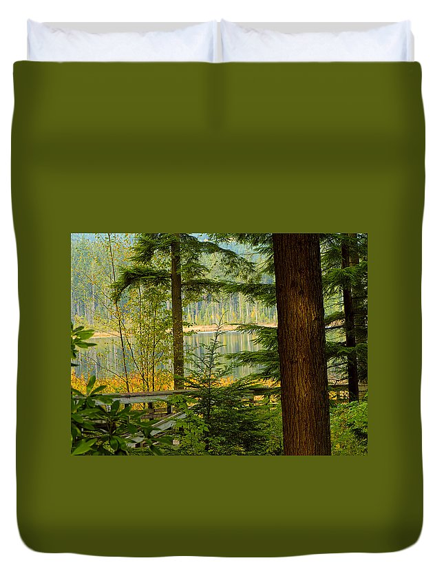 Whonnock Lake Duvet Cover featuring the photograph Whonnock Lake Through The Trees by Sharon Talson