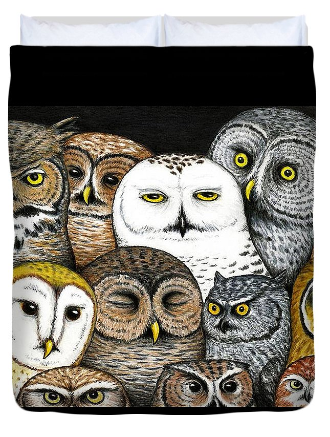 Art Duvet Cover featuring the painting Who's Hoo by Don McMahon
