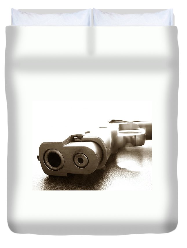 Gun Duvet Cover featuring the photograph Why by Amanda Barcon