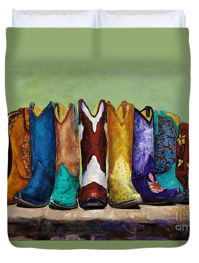 Cowboys Duvet Cover featuring the painting Why Real Men Want To Be Cowboys by Frances Marino