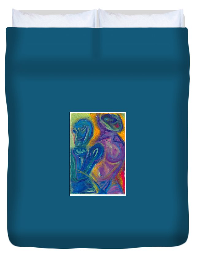 Duvet Cover featuring the pastel Why by Sitara Bruns