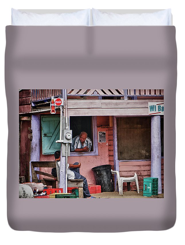 Rural Bar Duvet Cover featuring the photograph Wi Bar by Jessica Levant
