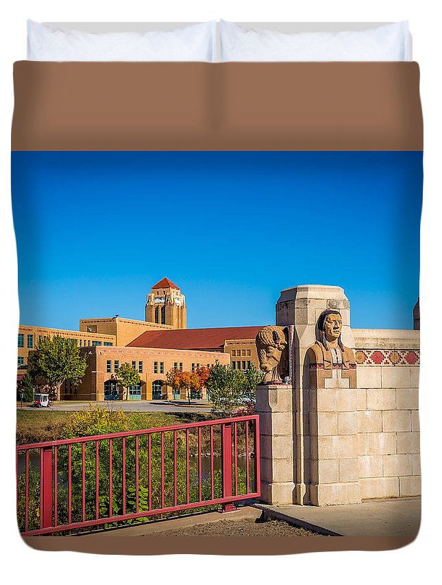 Architecture Duvet Cover featuring the photograph Wichita Bridge #1 by Jon Manjeot