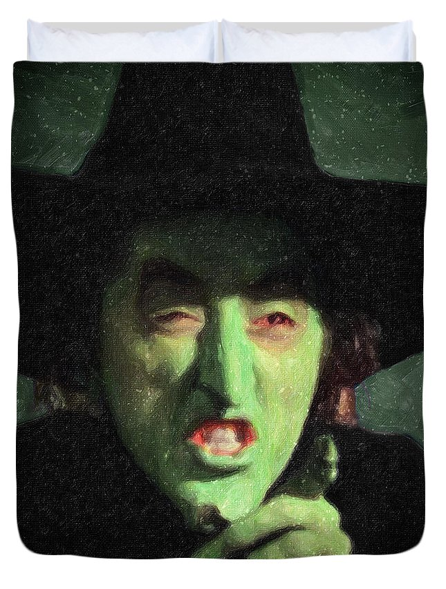 Wicked Witch Of The East Duvet Cover featuring the painting Wicked Witch Of The East by Zapista Zapista