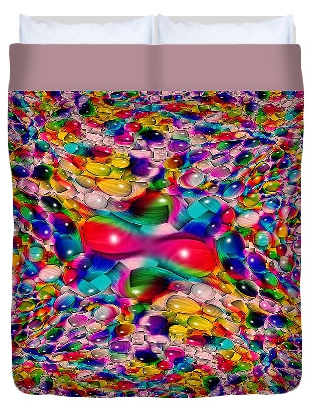 Marble Duvet Cover featuring the photograph Wicker Marble Rainbow Fractal by Tim Allen