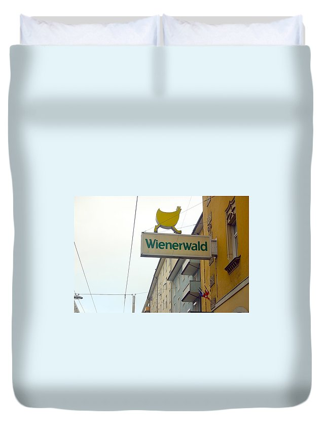 Chicken Duvet Cover featuring the photograph Wienerwald In Salzburg by Minaz Jantz