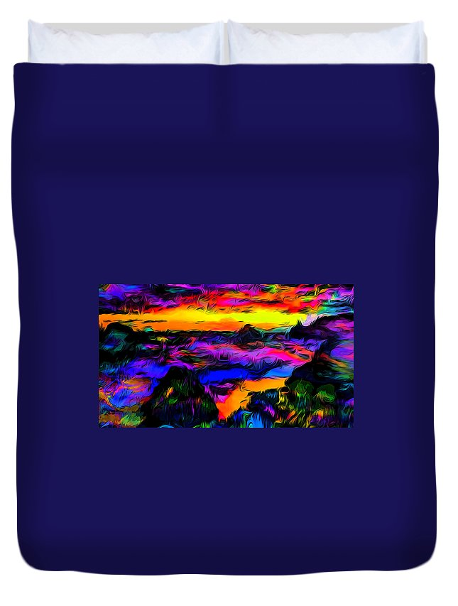 Psychedelic Duvet Cover featuring the photograph Wild And Crazy Shoreline Dusk by Ron Fleishman