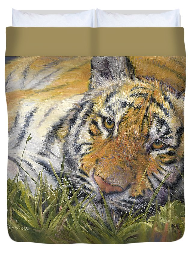 Tiger Duvet Cover featuring the painting Wild Beauty by Lucie Bilodeau