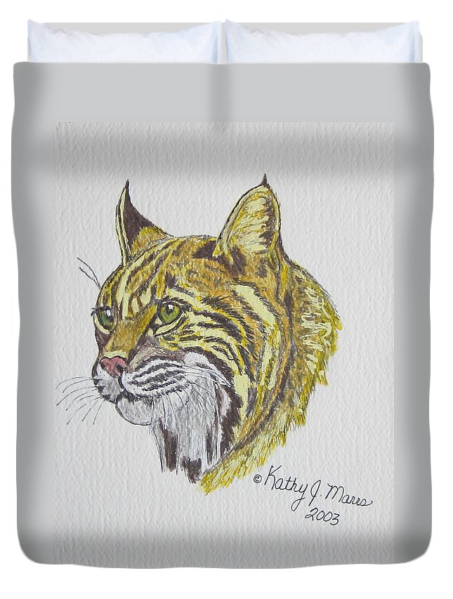 Wild Bobcat Duvet Cover featuring the painting Wild Bobcat by Kathy Marrs Chandler