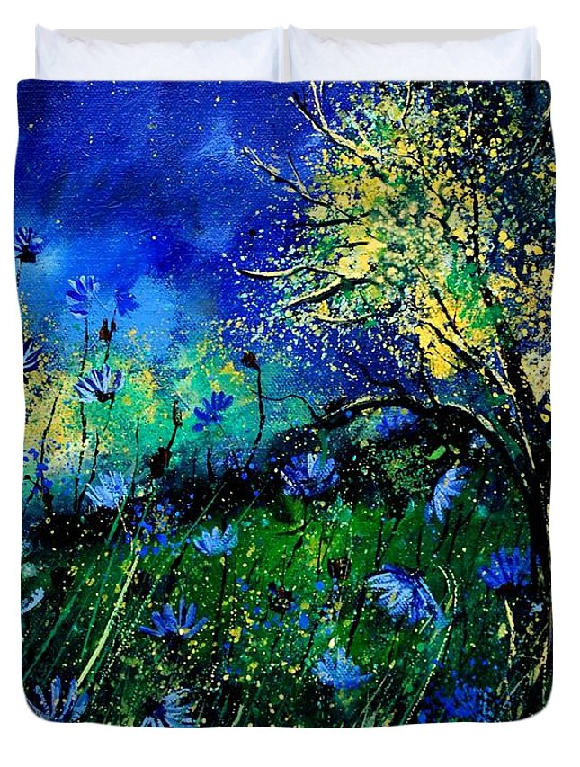 Poppies Duvet Cover featuring the painting Wild Chocoree by Pol Ledent