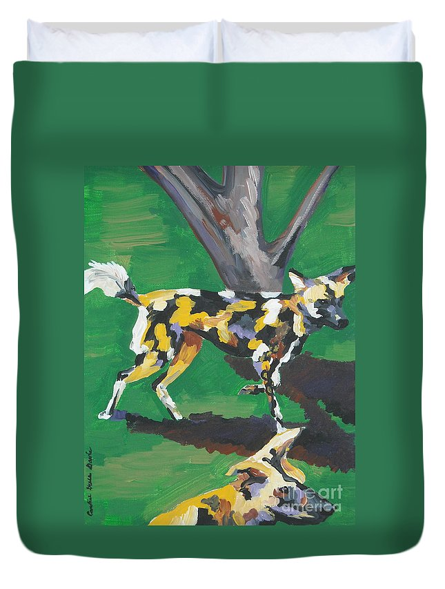 Dog Duvet Cover featuring the painting Wild Dogs by Caroline Davis