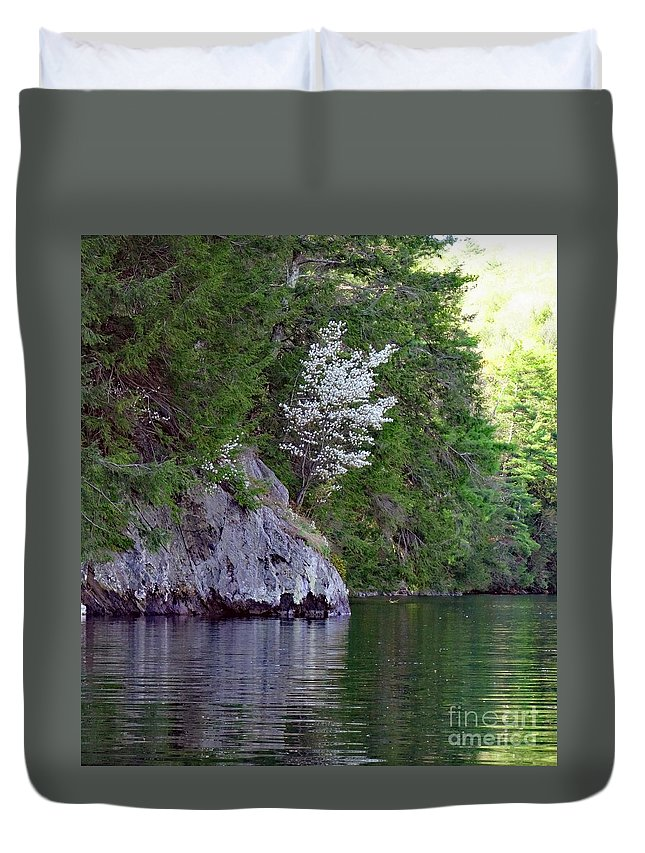 Wild Dogwood Trees Lake St Catherine Poultney Wells Vermont Duvet Cover featuring the photograph Wild Dogwood by Karen Velsor