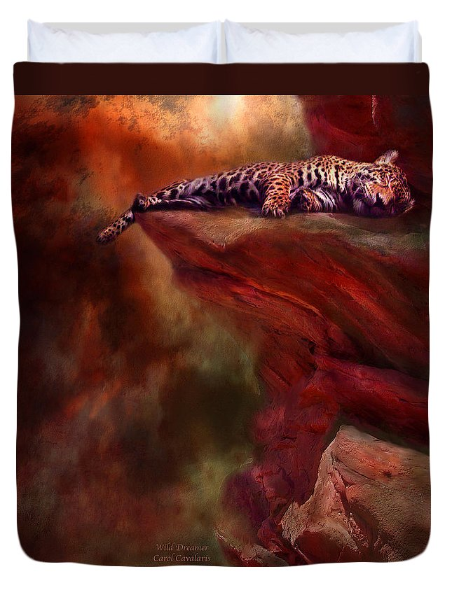 Leopard Duvet Cover featuring the mixed media Wild Dreamer by Carol Cavalaris