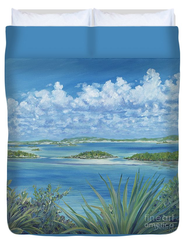 Seascape Duvet Cover featuring the painting Wild Exumas by Danielle Perry