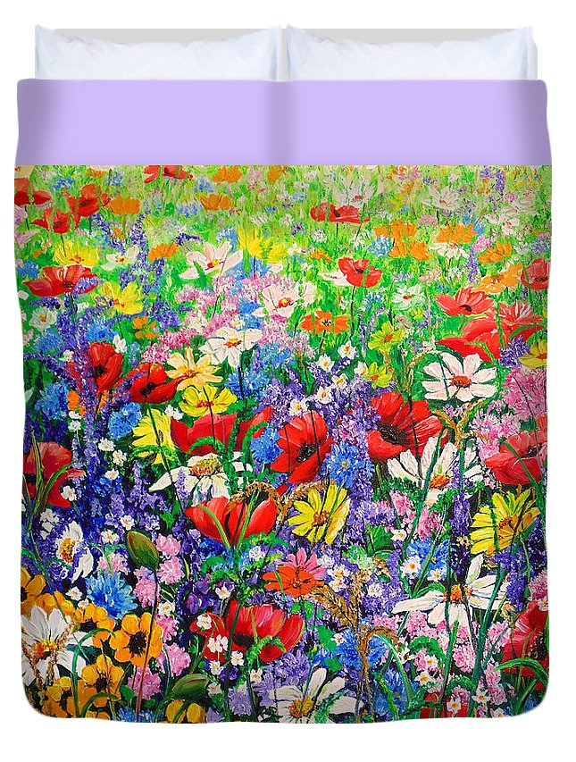 Wild Flowers Duvet Cover featuring the painting Wild Flower Meadow by Karin Dawn Kelshall- Best