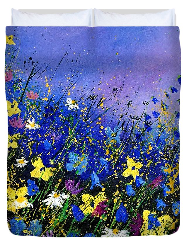 Flowers Duvet Cover featuring the painting Wild flowers 560908 by Pol Ledent