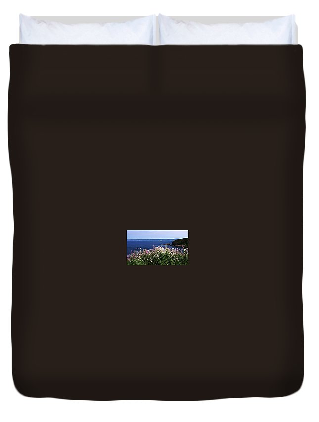 Photograph Iceberg Wild Flower Atlantic Ocean Newfoundland Duvet Cover featuring the photograph Wild Flowers And Iceberg by Seon-Jeong Kim