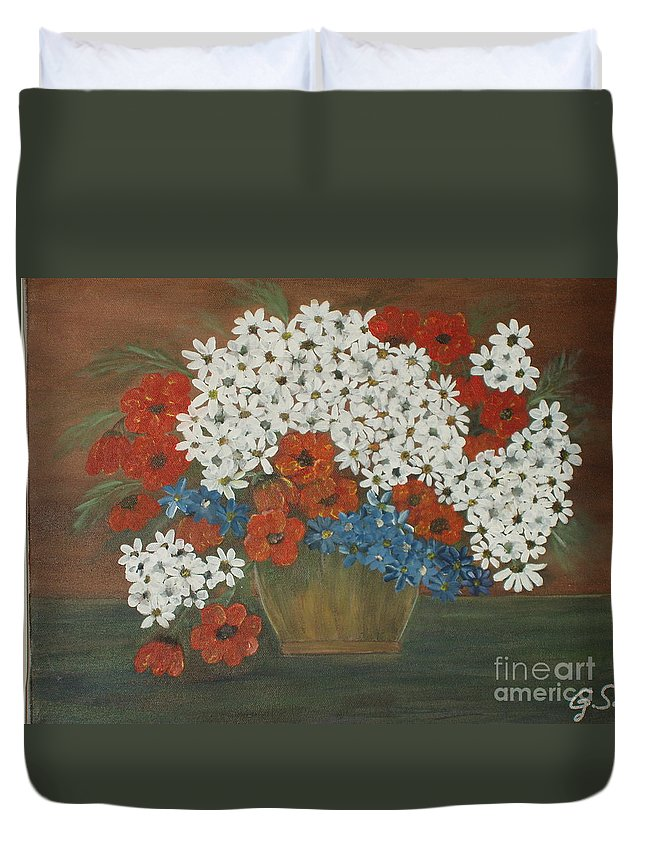 Art Duvet Cover featuring the painting Wild Flowers by Gladis Sagi