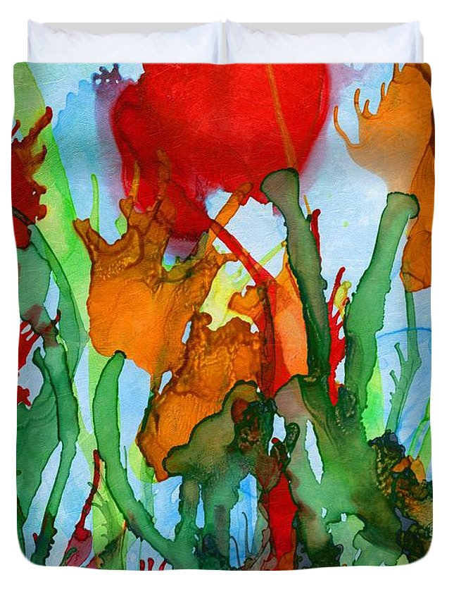 Abstract Duvet Cover featuring the digital art Wild Flowers by Klara Acel