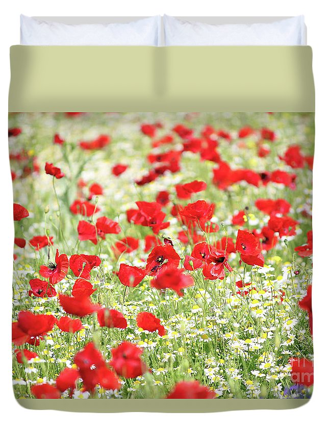 Camomile Duvet Cover featuring the photograph Wild Flowers Meadow Spring Scene by Goce Risteski