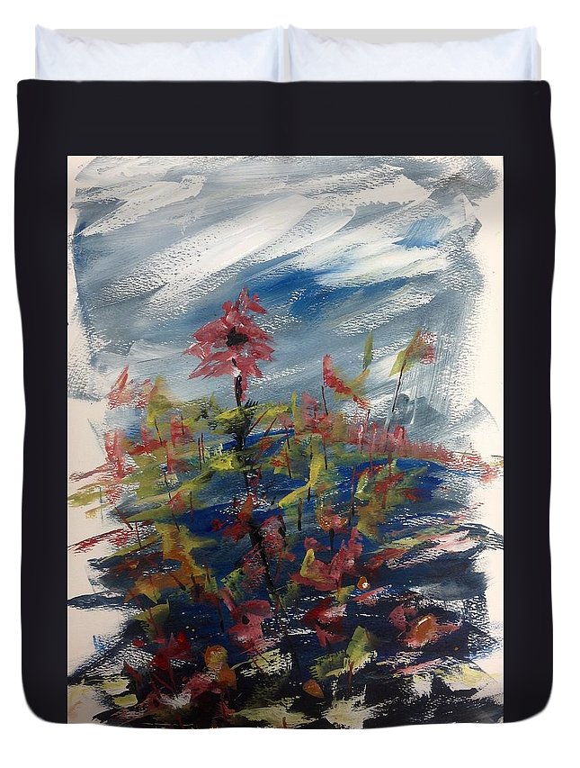 Abstract Watercolour Floral Painting Duvet Cover featuring the painting Wild Flowers On An Overcast Day by Desmond Raymond