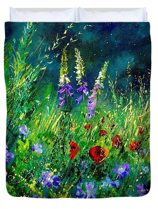 Poppies Duvet Cover featuring the painting Wild Flowers by Pol Ledent