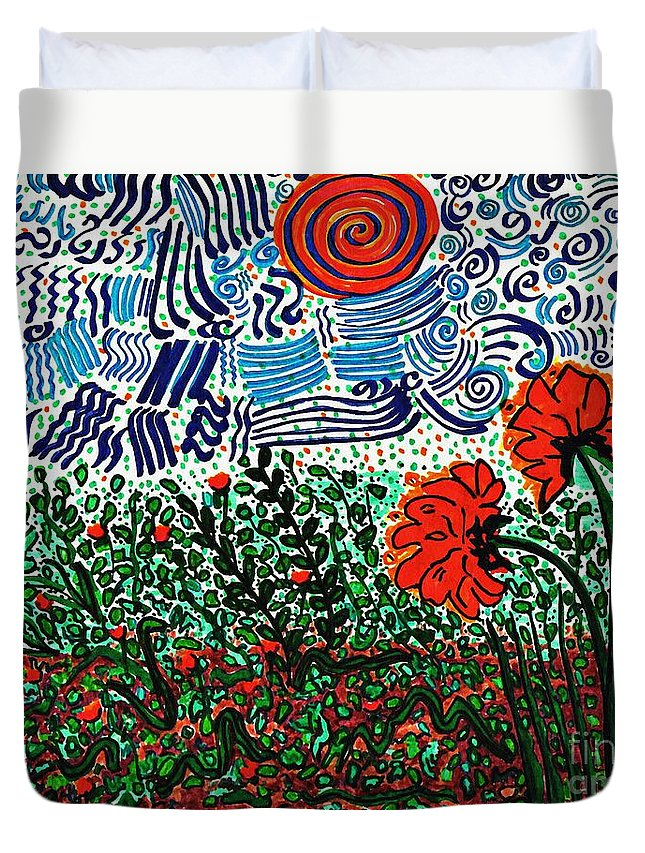 Flower Duvet Cover featuring the drawing Wild Flowers Under Wild Sky by Sarah Loft